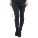 New Arrival Trendy Black Elastic Waist Lace-Up Side Stretch Skinny Leggings