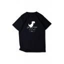Funny Letter YOU ARE OFFLINE Dinosaur Print Round Neck Short Sleeve Black Tee Top
