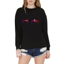 Winter's New Arrival Long Sleeve Crewneck Letter NOT TODAY Leisure Sweatshirt for Girls