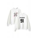 Fashionable Long Sleeve Mock Neck Letter TOMLINSON Printed Sweatshirt