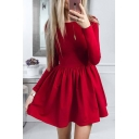 Long Sleeve Round Neck Simple Solid Mini A-Line Dress