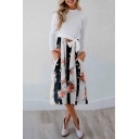 Hot Popular Long Sleeve Mock Neck Floral Printed Tie Waist Casual Midi Dress