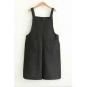 Classic Wide Leg Casual Plain Double Pockets Straps Overall Jumpsuit