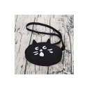 Black Lovely Cartoon Cat Pattern Canvas Cotton Crossbody Bag Shoulder Bag