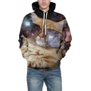 3D Galaxy Glasses Cat Printed Long Sleeve Leisure Hoodie with Pocket