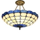 Dark Blue&Beige Circular Grid Bowl Shade Inverted Pendant Light for Bedroom 2 Sizes for Option