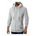 Autumn New Fashion Long Sleeve Logo Patched Zip Up Slim Fitted Hoodie