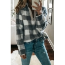 Stylish Check Printed Long Sleeve Stand Collar Zip Up Fleece Sweatshirt