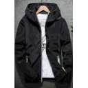Men's Chic Contrast Zip Pocket Long Sleeve Hooded Lightweight Sports Jacket