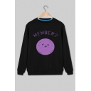 Cute Cartoon MEMBER Pattern Round Neck Long Sleeve Regular Fitted Sweatshirt