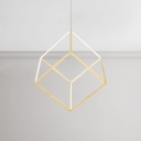 Post Modern Ultra Thin Geometric Pendant Lighting 3000K Gold LED Square Chandelier for Cafe Restaurant 11