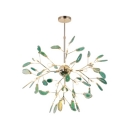 Post Modern Designers Lighting Agate LED Chandeliers 12/48/60W 4/16/20 Light Heracelum II Chandeliers in Green Creative Led Lights for Kids Room Bedroom