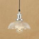 Vintage Dome Pendant Light with Swirl Glass Single Light Hanging Lamp in Bronze/Chrome for Restaurant