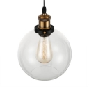 Industrial Style Orb Hanging Light Clear Glass Single Head Drop Ceiling Lighting in Bronze for Kitchen