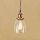Industrial Style Mini Pendant 1 Light with Conical Shade Clear Glass in Rust for Hallway Warehouse
