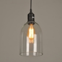 Industrial Style Mini Hanging Pendant 1 Light with Clear Glass Cylindrical Shade in Black for Bar Cafe
