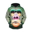 New Trendy 3D Green Ape Printed Long Sleeve Men's Casual Hoodie