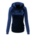 Trendy Fashion Color Block Letter Printed Sports Casual Hoodie