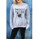 Hot Fashion Letter FEMINIST KILL JOY Cat Print Crewneck Long Sleeve Gray Sweatshirt