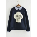 Fake Two-Piece Long Sleeve Letter BAKERY Printed Stripes Collar Loose Sweatshirt
