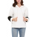 Fashion Black and White Color Block Long Sleeve Winter's Fleece Hoodie