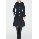 Women's Winter Hooded Long Sleeve Button Down A-Line Longline Solid Woolen Coat