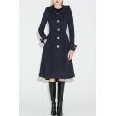 Women's Winter Hooded Long Sleeve Button Down A-Line Longline Solid Woolen Coat