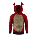 Winter's Fashion Christmas Deer Horn Long Sleeve Fleece Patchwork Slim Hoodie