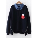 Cartoon Cat Tea Cup Pattern Chest Lapel Collar Patched Long Sleeve Pullover Sweatshirt