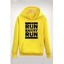 Letter RUN BARRY RUN Printed Long Sleeve Sports Fitted Hoodie