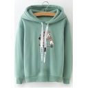 New Fashion Letter A Floral Printed Long Sleeve Loose Leisure Hoodie