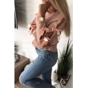 New Arrival Chic Round Neck Bow Embellished Long Sleeve Plain Sweater