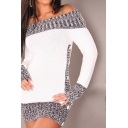 Hot Chic Colorblock Off The Should Long Sleeve Button Embellished Tunics Sweater
