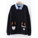 Funny Winter's Cartoon Elk Embellished Lapel Collar Patched Long Sleeve Loose Sweatshirt