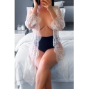 New Sexy Sheer Eyelash Lace Long Sleeve White Cardigan Blouse for Women