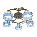 Blue&White Checkered Mediterranean Flush Mount Light with Dome Shades and Leaf Decorations