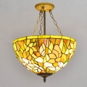 Tiffany Yellow Stained Glass Floral Theme Bowl Shade Hanging Light 15.75