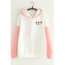Cute Strawberry Embroidered Long Sleeve Colorblock Hoodie for Juniors