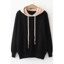 Fashion Two-Tone Long Sleeve Hooded Regular Fit Sweater