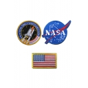 Unique Fashion Letter NASA Embroidered Blue Three-Piece Velcro Tape Badge