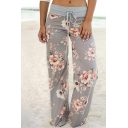 Fashion Floral Pattern Tied Waist Loose Fitted Leisure Wide Legs Pants