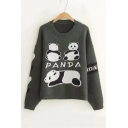 Cute Cartoon Panda Printed Round Neck Long Sleeve Pullover Sweater