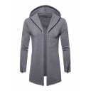 Men's Autumn Fashion Solid Long Sleeve Zip Embellished Open Front Hoodie