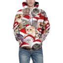 3D All Over Christmas Cat Pattern Long Sleeve Sports Leisure Hoodie