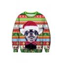 Hot Fashion Christmas Dog Printed Round Neck Long Sleeve Green Sweatshirt