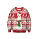 Cartoon Christmas Animal Pattern Crewneck Long Sleeve Red Sweatshirt