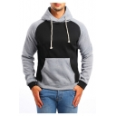 Fashion Color Block Long Sleeve Sports Casual Drawstring Hoodie