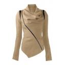 Trendy Cowl Neck Contrast Sloping Zip Front Long Sleeve Asymmetric Hem Coat