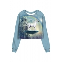 Rainbow Castle Unicorn Pattern Long Sleeve Round Neck Blue Sweatshirt