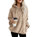 Women's Simple Long Sleeve Half Zip Front Plain Oversize Faux Fur Hoodie